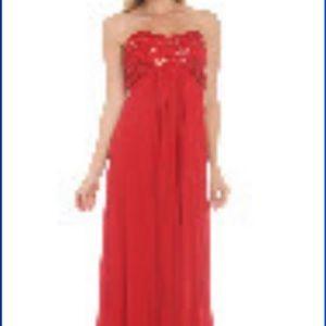 "Onyx Nite ""Telesto"" Dress (Red/beading)"